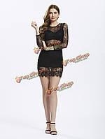 Женское черный подиуме кружевное платье перспективе лоскутное верхней оболочки
