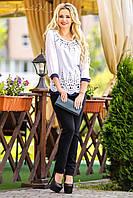 Белая женская блуза  с  кружевным узором  Севентин 46-52 размеры