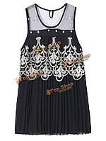 Сексуальные женщины крючком лоскутное шитье плиссированные шифоновое мини-платье