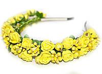 Обруч на голову Розы желтые