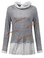 Блудниц поддельные два кусок плиссированные лоскутное пуловеры свитер джемпер