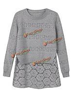 Женщин кружева шить выдолбить поддельные из двух частей свободный трикотажный пуловер свитер