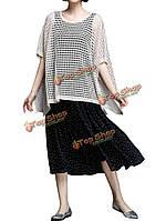 Свободные женщины Batwing рукав летом полый платок свитер, фото 1