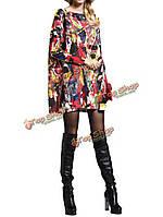 Женщины о-образным вырезом с длинными рукавами свободные трикотажные печати в середине длинный свитер платье