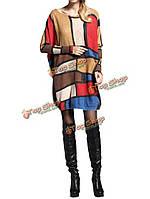 Женщины пуловер печатание плед трикотажные свободный середине длинный базовый свитер платье