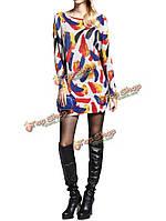 Женщин случайные свободные длинными рукавами пуловер печати случайные вязаный свитер платье, фото 1
