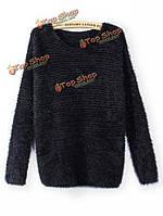 Моды женщин мохер круглый шею свитер с длинным рукавом вязаный свитер