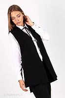 Молодіжний жакет без рукавів з  кишенями (чорний), фото 1