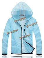 Вскользь тонкая молния прозрачный солнцезащитный крем пляж куртка с капюшоном для женщины