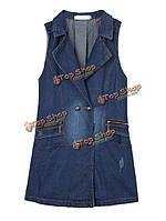 Случайные женщины двубортные джинсовые рукавов длиной жилет жилет