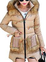 Женщины съемный меховой воротник вязаный мех карман с капюшоном теплое пальто хлопка