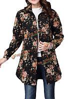 Женщины народном стиле цветочный напечатаны лацкан длинный рукав стеганые пальто хлопкового белья
