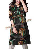 Женщин вскользь с капюшоном цветной печати хлопка белье платье
