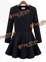 Молнии кашемир шерсть тонкая пригонка уличный стиль о-образным вырезом толстые пальто