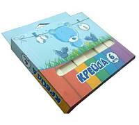 Мел школьный белый МАКСИ 6шт 19х19х100мм картонная коробочка
