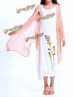 Случайные женщины хлопка год сбора винограда свободные из двух частей платье с длинным рукавом