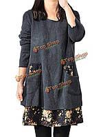 Женское одеваются одежды большого размера длинный рукав лоскутное платье повседневное