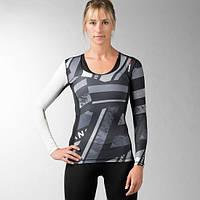 Компрессионная футболка женская с длинным рукавом Reebok ONE Series ACTIVChill Black AX8680