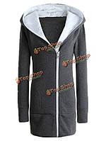 Тонкий флис чистый цвет длинный рукав молния капюшон пальто женщин