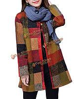 Плюс размер старинных этнических кнопку толщиной пальто хлопка