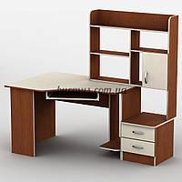 Эргономичный компьютерный стол угловой с тумбами Тиса-2, яблоня-локарно + Ваниль, фото 1