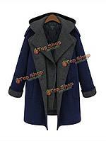 Плюс размер изящный двойной с грудкой капот длинное шерстяное пальто