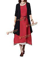 Случайные женщины чистый цвет Сплит высокий низкий хлопок лен кардиган