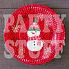 Новогодние тарелки Снеговик 18 см, 10 шт