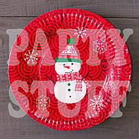 Картонные тарелки Снеговик 18 см, 10 шт