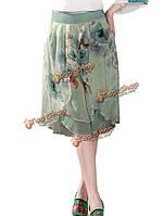 Элегантных женщин цветочные печати шифон Палаццо брюки шорты