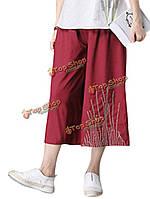 Женщины из этнических стилей вышивки палаццо брюки укороченные брюки