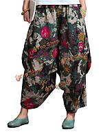 Этнических женщин стиль цветок напечатаны карман хлопок белье шаровары
