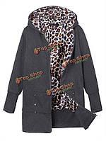 Леопард балахон тонкий пальто плюс размер случайный верхней одежды для женщин