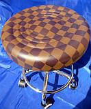 Стілець для майстра манікюру , педикюру і перукаря без спинки коричневий шахматки, фото 4
