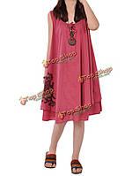 Случайный лук вышивка без рукавов белье мини сарафана для женщин