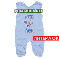 Ползунки высокие с застежкой на плечах р. 56 демисезонные ткань ИНТЕРЛОК 100% хлопок ТМ Алекс 3143 Голубой1