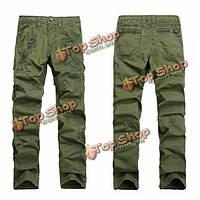 Мужские брюки-карго молния украшения хлопка случайные прямые брюки