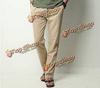 Белье сплошной цвет случайные мягкие мужчины длинные брюки льна досуг брюки