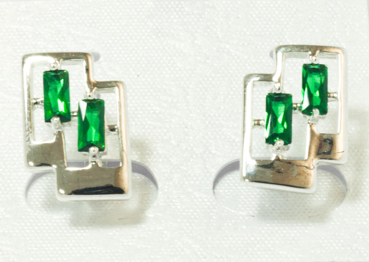 Серьги родий, зеленый цирконий, англ.замок