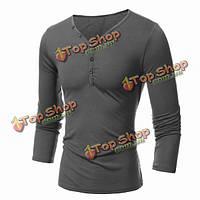 Сплошной цвет v воротник Повседневная футболка Мужская тонкий футболка с длинным рукавом