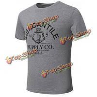 Мужчины летом короткий рукав воротник экипажа письмо печати рыхлую случайные хлопка футболку