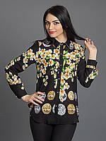 Черная рубашка в цветы