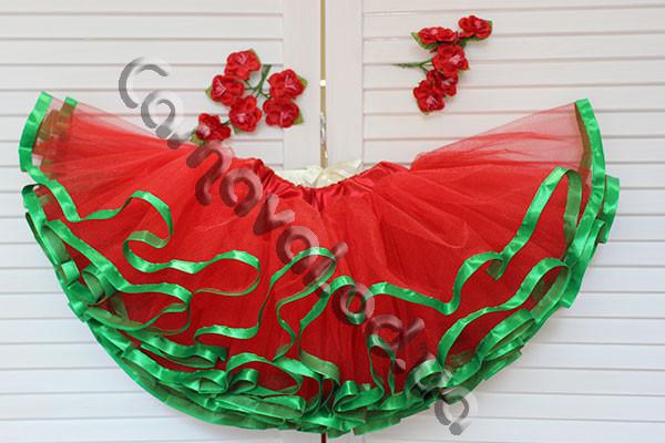 Юбка-пачка красная с зелеными лентами