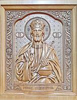 Икона деревянная резная Иисуса Христа (Господь Вседержитель) с ажурной рамкой, фото 1