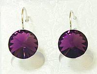 Серьги родированные, Swarovski Crystal, бордовый