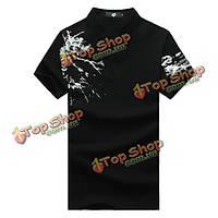 Лето стенд воротник поло мужчины рубашки китайская живопись тушью с коротким рукавом футболки