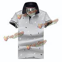 Лето мужской сплошной цвет короткий рукав поло футболки оленя печати уменьшают подходящие тройники
