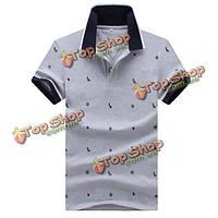 Лето мужской сплошной цвет короткий рукав поло футболки муравей печать тонкие покрывает тройники