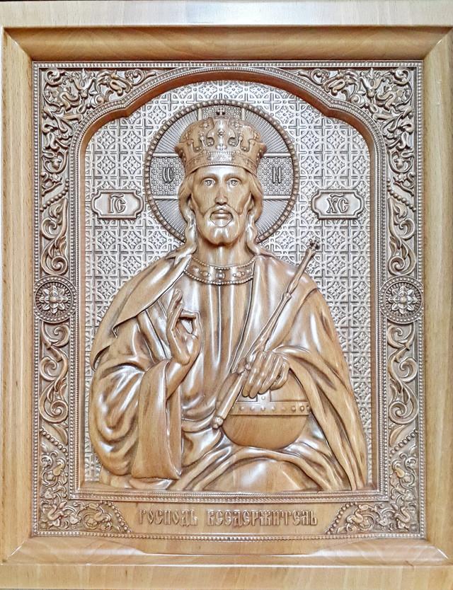 икона иисуса христа резная деревянная господь вседержитель