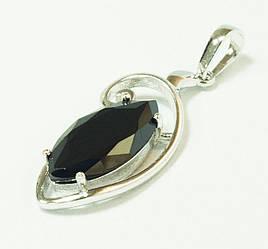 Кулон родий, Большой черный камень, Xuping